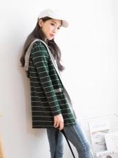寬鬆高含棉拼接條紋開襟連帽外套.2色