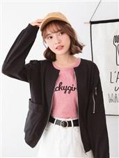 素色圓形拉鍊設計縮口長袖高含棉外套