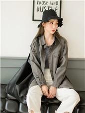 高含棉釦式雙口袋襯衫/外套