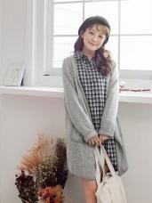 混色仿羊毛反摺袖開襟長版外套