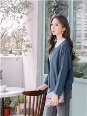 素色開襟打褶袖短版外套