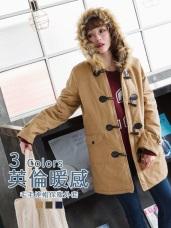 牛角釦內裡格紋高含棉鋪棉連帽外套