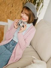 粉嫩色系內磨毛開襟長版外套