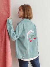高含棉純色背後櫻桃刺繡短版夾克外套