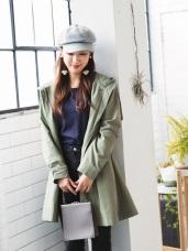高含棉後蝴蝶結綁帶造型長版連帽外套