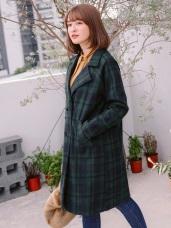 英倫格紋羊毛料西裝長版外套
