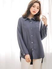 高含棉純色寬長版襯衫/外套