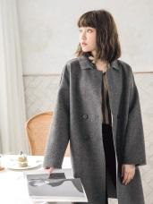 混紡羊毛不收邊毛呢翻領大衣外套
