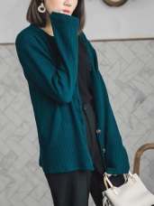 溫柔暖感直坑條混色針織外套/上衣
