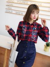 橫須賀刺繡花朵英倫格紋磨毛襯衫/外套