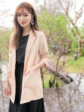 純色口袋雪紡七分袖西裝外套