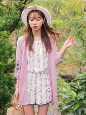 電繡花朵落肩開襟長版外套