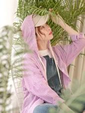 高含棉格紋連帽罩衫/外套