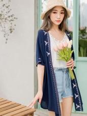 碧青色調民俗風刺繡花朵開襟罩衫外套