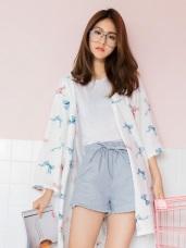 附綁帶蝴蝶結滿版燙印高含棉成套居家外罩