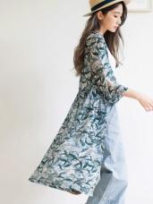 滿版清新印花排釦洋裝/外套罩衫