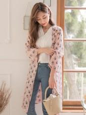 浪漫印花雪紡九分袖長版罩衫/外套