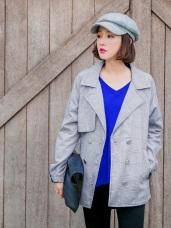 細緻格紋釦飾翻領風衣外套
