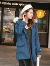 牛角釦蓬鬆毛毛連帽大衣外套