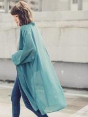 純色透膚開襟澎袖連肩雪紡罩衫