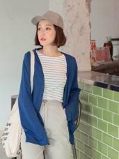 純色超長寬袖開襟罩衫/外套