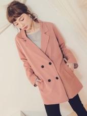 純色寬鬆翻領西裝外套