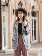 袖反褶配色質感格紋西裝外套