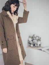 棕色調千鳥格紋毛呢大衣外套