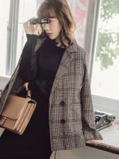 棕色調千鳥格紋混紡羊毛大衣外套