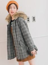 毛領連帽設計格紋鋪棉大衣外套