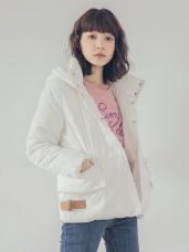 下襬釦環純色保暖羽絨棉外套