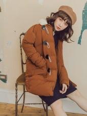 純色毛領牛角釦羽絨棉大衣外套
