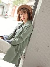 袖反褶條紋排釦西裝外套