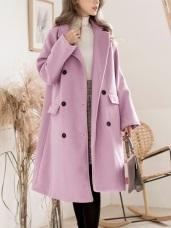 毛呢鋪棉雙排釦長版大衣外套(依依佩佩推薦