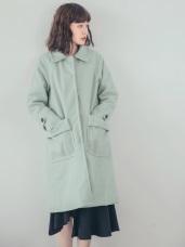 純色質感毛呢鋪棉大衣外套
