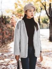 豐厚貂絨毛質感純色外套