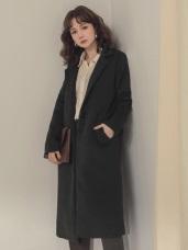 純色毛呢鋪棉翻領大衣/外套