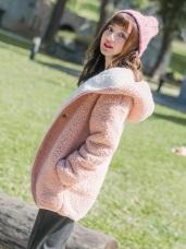 羊羔毛手感配色寬版連帽外套