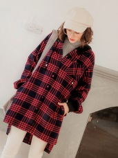 毛呢格紋排釦連帽長版外套