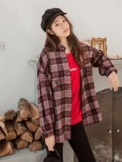 羊毛面蘇格蘭格紋襯衫外套