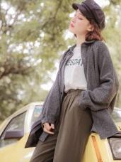 毛料面寬鬆小澎袖條紋襯衫/外套