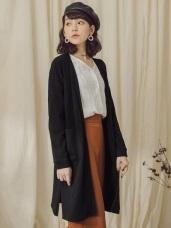 純色坑條長版開襟罩衫/外套