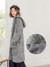 台灣製造.保暖內刷毛混色長版外套
