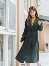 收腰設計翻領排釦長版西裝外套