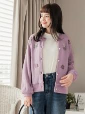 清新花朵刺繡針織排釦外套