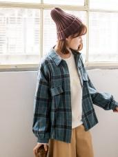 磨毛復古格紋小澎袖襯衫/外套