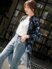 民族風印花長版襯衫式綁帶洋裝/罩衫
