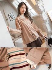 別緻排釦小蕾絲袖針織外套