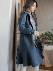 內刷毛荷葉下襬長版洋裝/外套