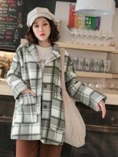 毛呢韓式格紋翻領大衣外套